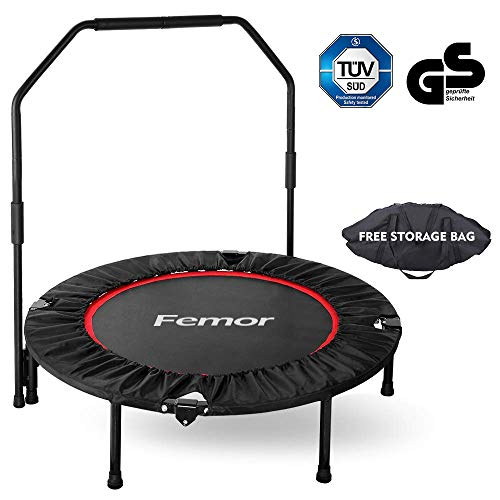 Femor Fitness Trampoline Foldable Trampoline for Adult, Two Models, Ø101.6 / Ø127cm, 3/5-way Height-adjustable Handle Jumping Trampoline Incl. Edge Cover, Weight Up to 150KG, for Indoor/Outdoor