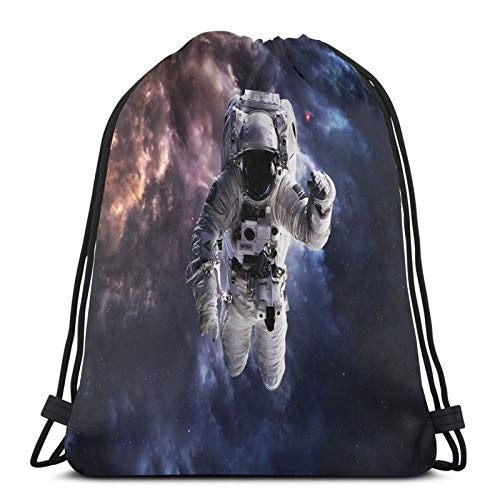 Fuliya Gym Drawstring Bags Backpack,Realistic Space Suit In Space Hovering In Emptiness Space Clouds Stars,Unisex Drawstring Backpack