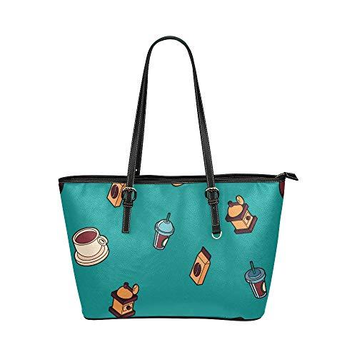 Tasche Handtaschen für Frauen Nette Cartoon Kaffeemaschine Werkzeug Leder Hand Totes Tasche Kausale Handtaschen Reißverschluss Schulter Organizer Für Damen Mädchen Damen Umhängetasche für Fr