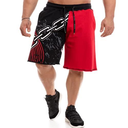 Katenyl Pantalones Cortos Deportivos con Bloqueo de Color de Retazos para Hombre, Pantalones Cortos Informales de Moda con Estampado Suelto con Personalidad de Costura 3XL