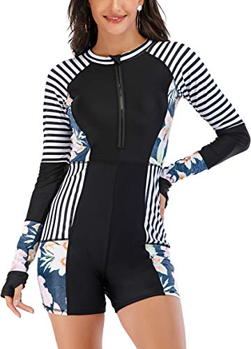 LafyKoly Women's One Piece Surfing Swimsuit Long Sleeve Rash Guard Boyleg Athletic Swimwear Bathing Suit (Medium, Black&Floral&Stripe)