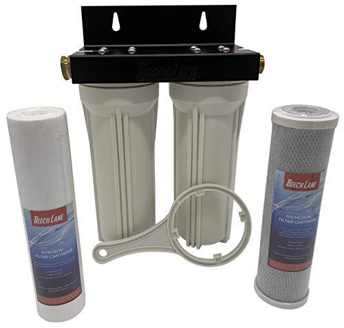 Sistema de filtro de água duplo de trailer externo Beech Lane, acessórios de latão sem vazamento, suporte de montagem e dois filtros incluídos, construção robusta é feita para durar