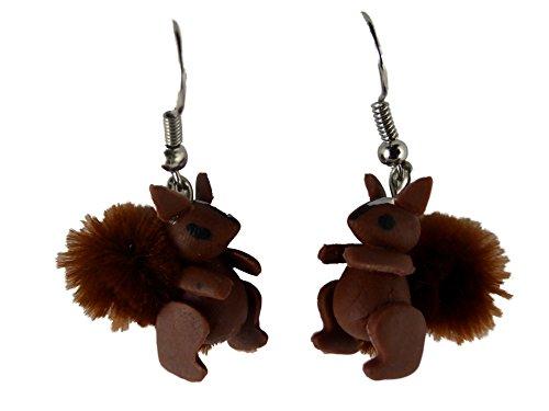 Ohrringe Ohrhänger Hänger handgemacht Eichhörnchen Wald Baum Natur mit Fell Schwanz 8061