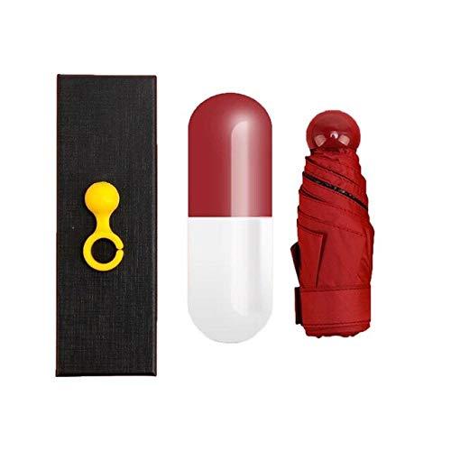 NJSDDB paraplu Mode Draagbare Unisex Paraplu Mini Capsule Zakformaat UV Bescherming Regen Vouwen Compact Kleine Capsule Paraplu Spanje wijn rood