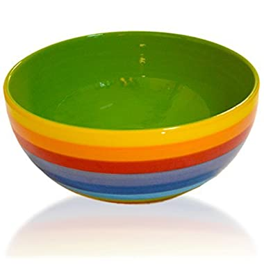 CinMin Rainbow Striped Stoneware Ceramic Salad and Multipurpose Bowl, 8 Inch