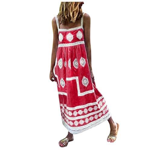 LEEDY Vestido de playa con estampado bohemio para mujer, de verano, con correa