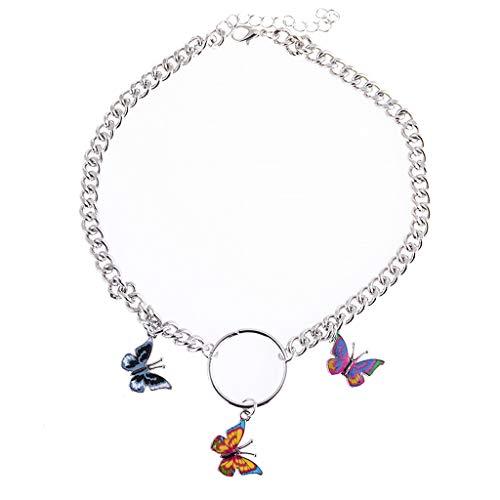 Follwer0 - Collar para mujer, diseño de mariposas coloridas