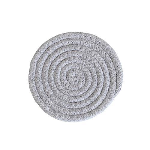 LZZR Handarbeit Baumwolle Seil Platzdeckchen Hand gesponnene Tischsets Servietten Geschirr Getränk Cup Coaster Isolierung Pad Küche Abendessen Wohnkultur (Color : Grey, Size : Round)