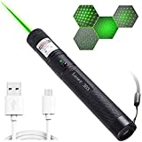 GBBG Mini Pocket USB Rechargeable Flashlight, Red/Green/Blue High-Power Tactical Flashlight with Adjustable Focus, Pet Toy (Including 18650 Battery),Green