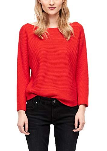 s.Oliver Damen Fledermaus-Pullover aus Rippstrick summer red 36
