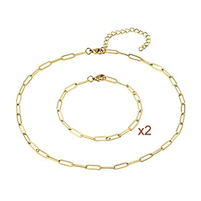 14k Real Gold Plated 4mm Oval Chain Link Choker Necklace Bracelets,Paperclip Link Necklaces,Chunky Collar Jewelry Set for Women Teens Girl