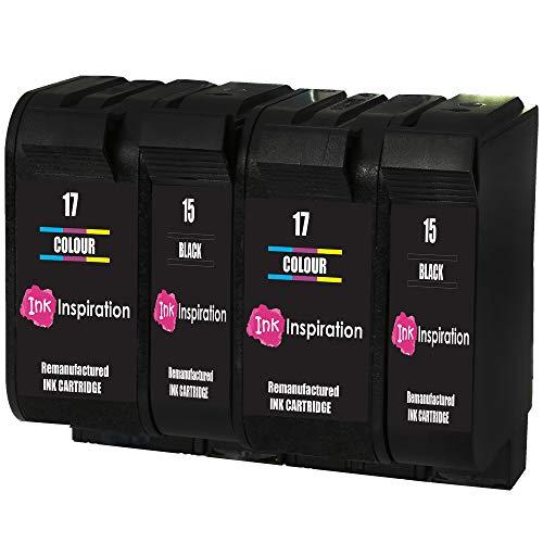 INK INSPIRATION 4 Cartuchos de Tinta Remanufacturados para HP 15 17 Deskjet 816c 825c 827 840c 841c 842c 843c 845c 845cvr 848c | Alta Capacidad
