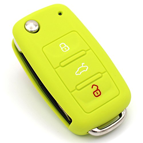 Schlüssel Hülle VA für 3 Tasten Auto Schlüssel Silikon Cover von Finest-Folia (Limegreen)