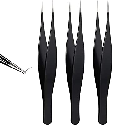 3 Pieces Tweezers for Ingrown Hair Stainless Steel Pointed Blackhead Remover Precision Eyebrow and Splinter Removal Tweezers (Black)