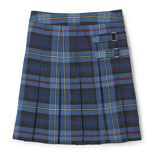 French Toast Big Girls' Plaid Pleated Scooter, Blue/Red, 10