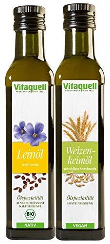 Vitaquell Weizenkeimöl, 1. Pressung 250 ml + Leinöl Goldleinsaat Bio, nativ 250 ml