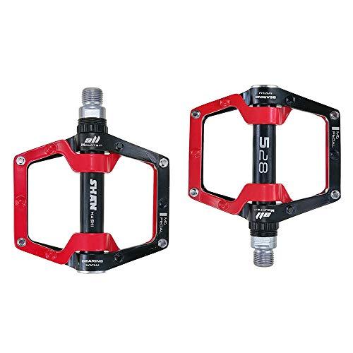 Evetin 181 Platform Bicycle Pedals, Aluminium Mountain Bike / City Bike / Trekking Non-Slip Pedals, Black with Red