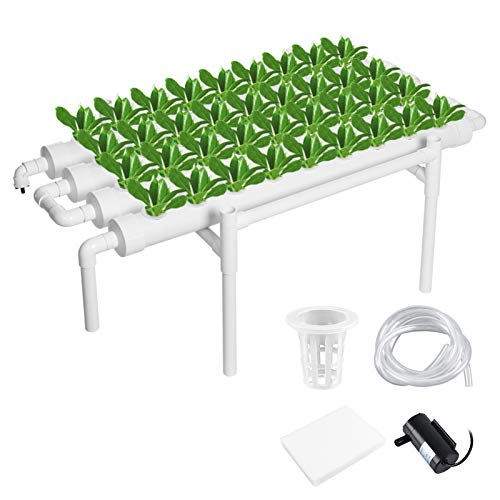 MorNon Hydroponic Grow Kit 36 Site 4 Pipe Hydroponic Growing System for Leafy Vegetables Lettuce Herb Celery Cabbage (Nest Basket Water Pump and Sponge)