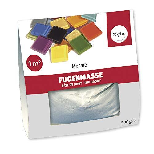 Rayher 1460000 Fugenmasse für Mosaikarbeiten, weißlich grau, Beutel 500 g, Pulver zum Anrühren, zum Verfugen von Mosaiksteinen, für den Innenbereich, Mosaik Fugenfüller