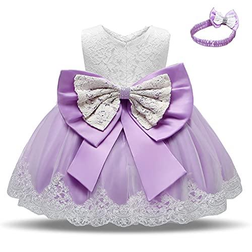 TTYAOVO Bebé Boda Bautismo Bautizo Tutu Vestido Chicas Princesa Vestir Talla(70) 0-6 Meses 648 Púrpura