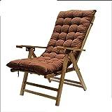 Tumbonas HAIYU- Sillón Reclinable de Bambú, Silla Reclinable Chaise Longue para Anciano con Respaldo Alto Ajustable y Reposacabezas Curvo Jardín Exterior (Color : Chair+Mat)
