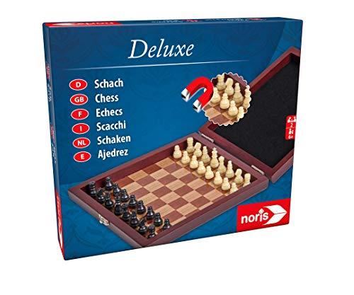 Noris 606108005 606108005-Deluxe Reisespiel Schach, Spieleklassiker