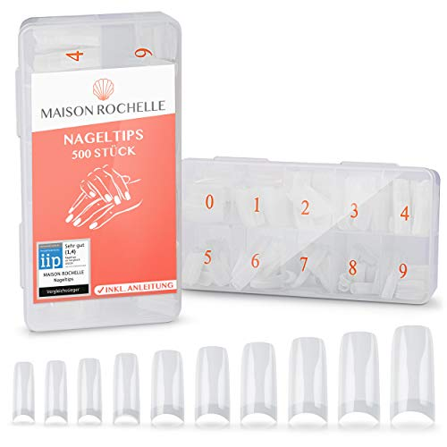 MAISON ROCHELLE® 500er Nageltips Set [inkl. Anleitung] für French Nails I Acrylic French Nail Tips I Plastik Nägel Tips, Nagel Tips, Fingernägel Tips