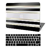 JGOO Hülle Kompatibel mit MacBook Pro 13 Zoll 2020-2016 Release A2338 M1 A2289 A2251 A2159 A1989 A1706 A1708 Touch Bar, 3D Schwarzgold Streifen Hartschale Hülle + Tastaturabdeckung