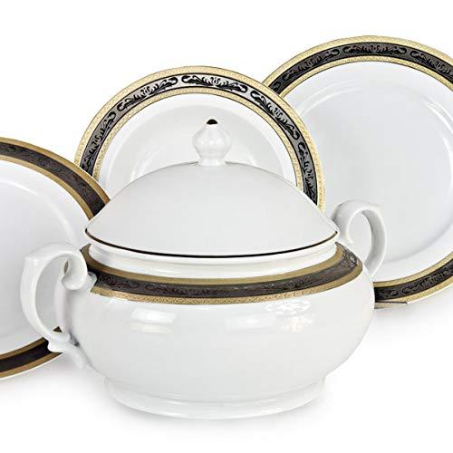MARTICA Servizio di Piatti Bavaria in fine Porcellana con Decoro in Oro e Platino - Riad