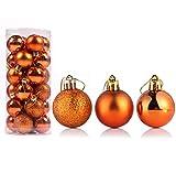 Bestjybt 24pcs Christmas Ball Ornaments Shatterproof Christmas Decorations Tree Balls for Holiday Wedding Party Decoration, Tree Ornaments Hooks Included (Orange, 4cm/1.57')