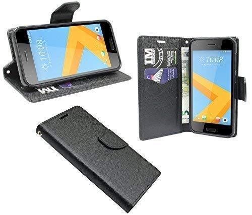 ENERGMiX Buchtasche kompatibel mit HTC One A9S Hülle Hülle Tasche Wallet BookStyle mit Standfunktion in Schwarz
