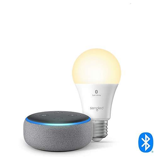 Echo Dot (3rd Gen) - Smart speaker with Alexa - Heather Gray Sengled Bluetooth bulb