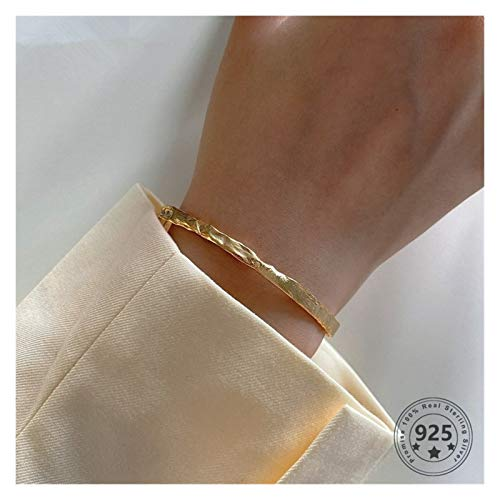 LPZW Real 925 Sterling Silver Irregular Bracelet Female Minimalist Individuality Gold Bangle For Women Luxury Fine Jewelry (Gem Color : Gold wide ring)