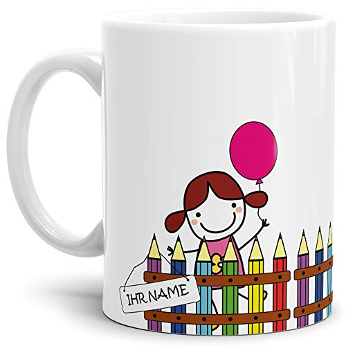 Einschulungs-Tasse Mädchen am Zaun - ABC-Schütze/Schule/Kind / 1. Klasse/Geschenk zur Einschulung/Schul-klasse/Personalisiert/mit Name/Weiss