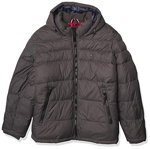 Tommy Hilfiger Men's Classic Hooded Puffer Jacket (Regular and Big & Tall Sizes), Grey Melange, X-Small