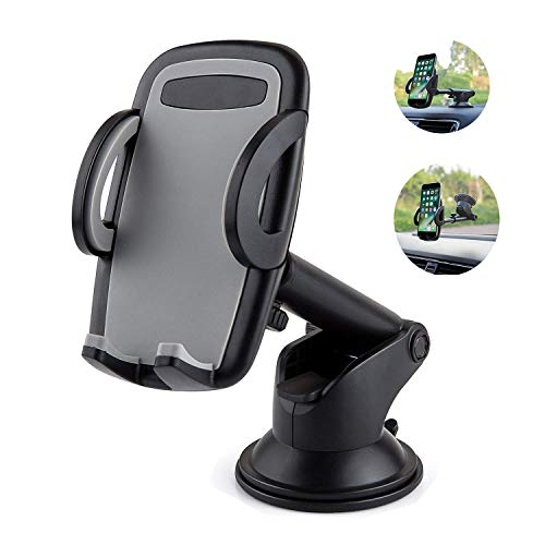 LSXD Car Mount Windshield Dashboard Phone Holder with Quick Release Button and Stretchable Arm for iPhone X/8/ 7/6/SE/5 and Samsung Galaxy Note