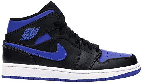 Nike Herren AIR Jordan 1 MID Basketballschuh, Black Hyper Royal White, 44 EU