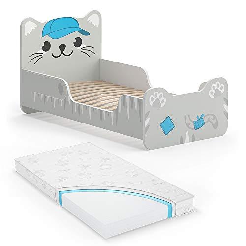 VitaliSpa Kinderbett Tommy 80x160 cm Grau Juniorbett Jugendbett Katze Jungenbett inkl. Matratze