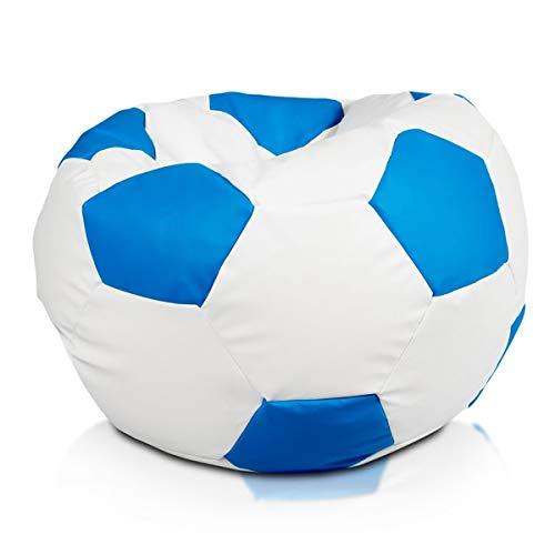 Ecopuf Fußball S Sitzsack aus Ecoleder – Handgefertigtes Fußball Sitzkissen mit doppelt verstärkten Nähten, 35 x 55 cm, Bodensitzkissen mit Polystyrol Füllung Farbe Himmlisch E19