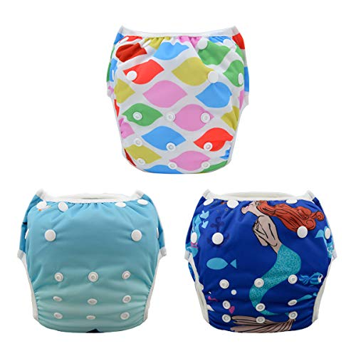 ALVABABY Swim Diapers 4pcs One Size Reuseable Washable &...