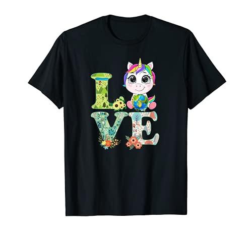Lindo Unicornio Amor Día Mundial de la Tierra 2021 Planeta Ambiental Camiseta