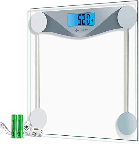 Etekcity Scales Digital Weighing Bathroom Scales High Precision Body Weight Scale with 8mm Tempered Glass, Body Measuring Tape, Backlight Display, 28st/180kg/400lb