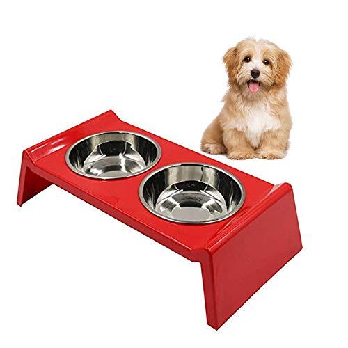 Achicoo Verhoogde roestvrijstalen melamine antislip dubbele kom voor de hondenkat die het drinken eet
