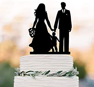 Bride Groom With Son Silhouette Funny Wedding Cake Topper With Boy, Family Silhouettecake Topper