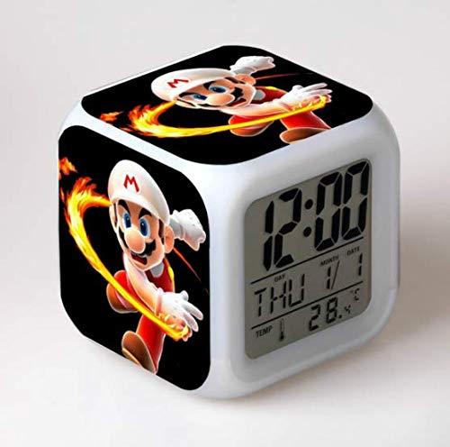 QIMA Reloj Super Mario Super Mario Bros Reloj Despertador para niños Reloj Digital de Dibujos Animados luz de Despertador Reloj led Reloj Despertador Mesa reveil Desk wekker