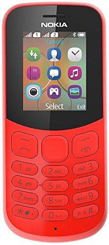 Nokia 130 Mobiltelefon (VGA Kamera, Bluetooth, extra lange Akkulaufzeit, Radio- & MP3 Player, Taschenlampe, Wecker, Dual Sim) rot, Version 2018