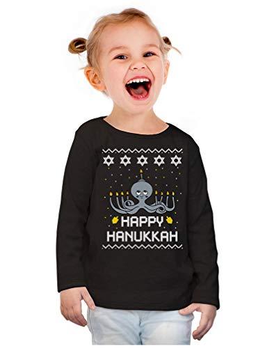 Hanukkah Octopus Menorah Ugly Christmas Toddler Girls Fitted Long Sleeve T-Shirt 3T Black