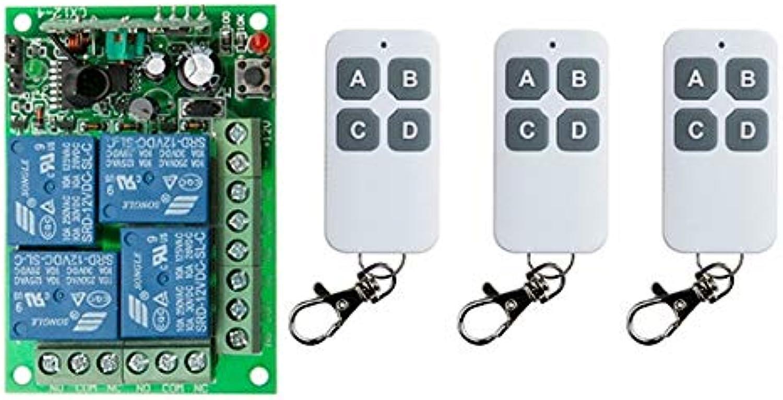 DC12V 4CH 4Channe 10A RF Wireless Remote Control Switch System, 3 X Transmitter + 1 X Receiver,315 433 MHZ Window Garage Doors