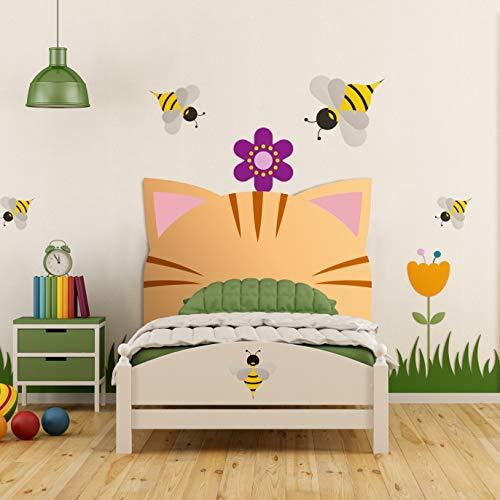 Megadecor Cabecero Cama PVC Decorativo Económico Diseño Infantil Orejas de Gato Naranja 100 x 100 cm.