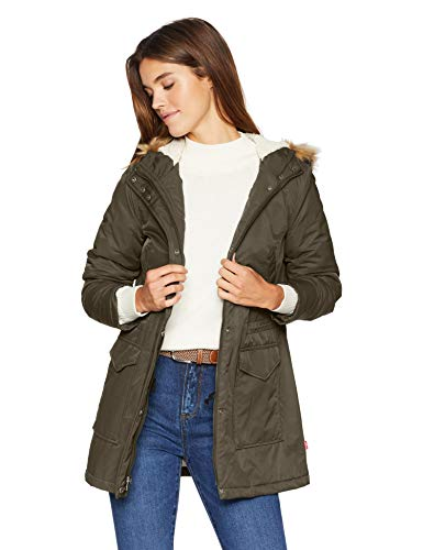 Levi's Women's Performance Sherpa Midlength Parka Jacket, Army Green/Poly Twill Lining, Small